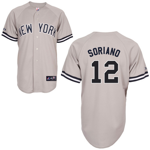 Alfonso Soriano #12 MLB Jersey-New York Yankees Men's Authentic Replica Gray Road Baseball Jersey